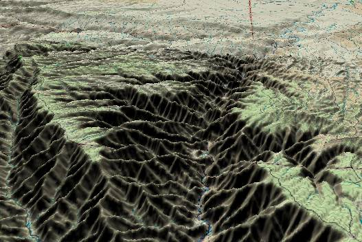 3-D view of the Desolation Canyon             portion of Desolation/Gray Canyon