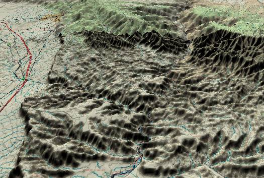 3-D             view of the Gray Canyon with the confluence of the Price             River near the center.