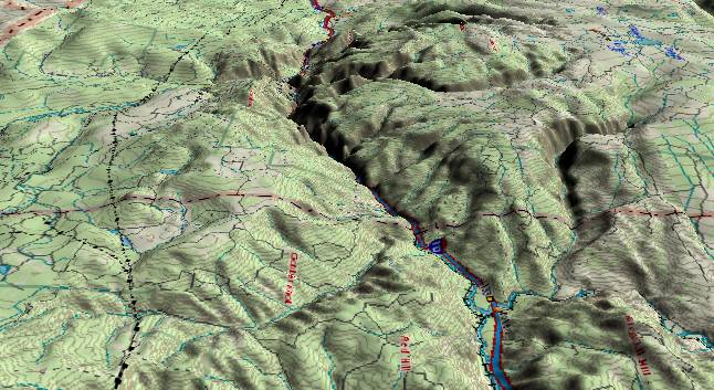 3-D aerial view of Glenwood Canyon as seen from near Eagle, CO