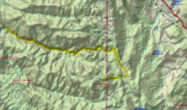 Service Creek starts down the east               side of the Gore Range, but then turns westward to cut               through the range.