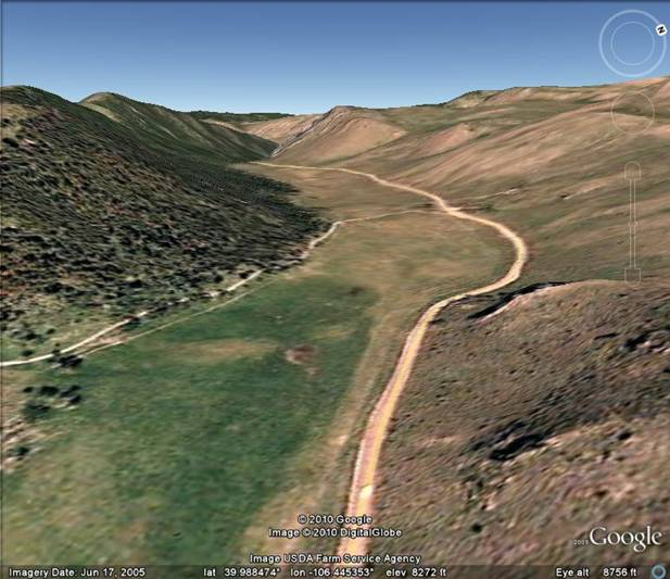The old abandoned route of the Blue               River is now a high dry valley.