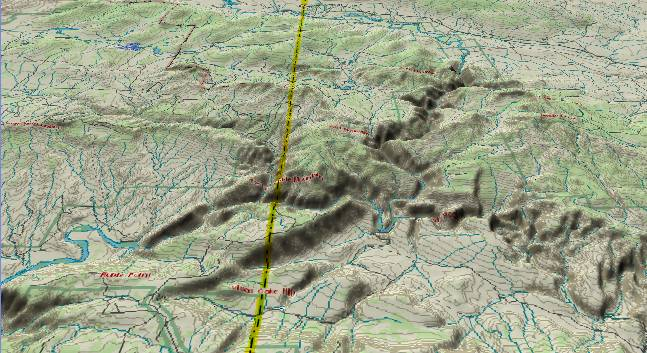 3-D view of             Harpers Corner and the middle of Dinosaur National Monument