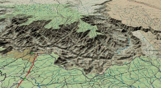 3-D view of the Kaibab Plateau and the heart of the Grand Canyon