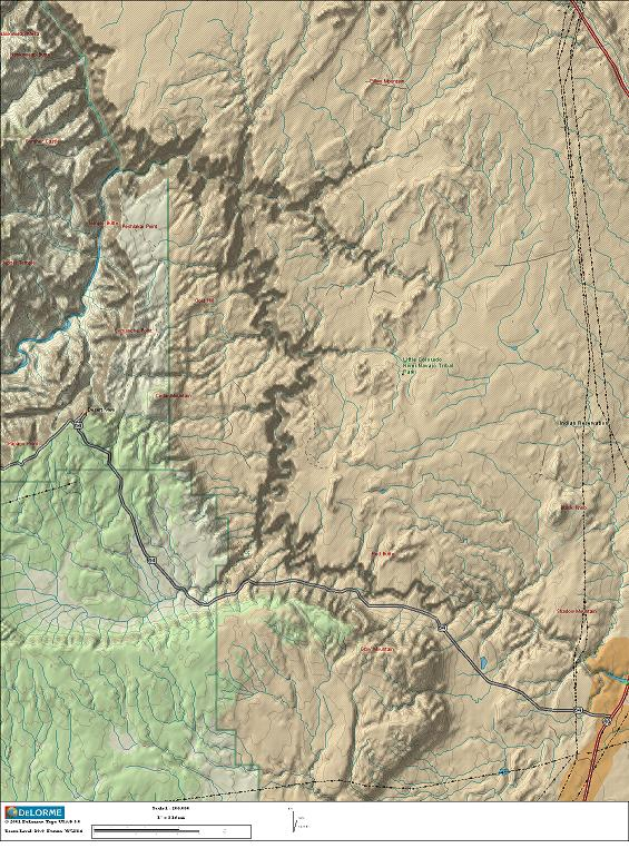A             relief/topo map of the junction of the Little Colorado and             Colorado rivers