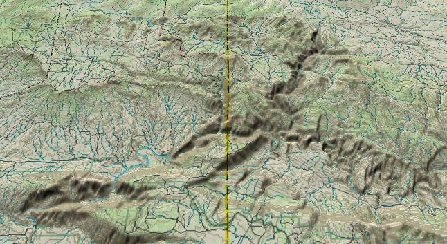 3-D view of the             middle of Dinosaur National Monument with the Canyon of             Lodore near the center