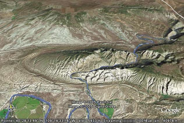3-D view of Split Mountain generated               via Google Earth