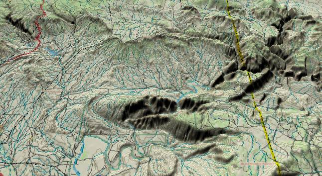 3-D computer             generated picture of Split Mountain, Utah