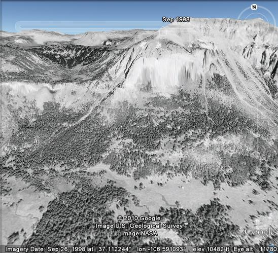 A 1998 Google Earth view before the Rio Chama rockfall