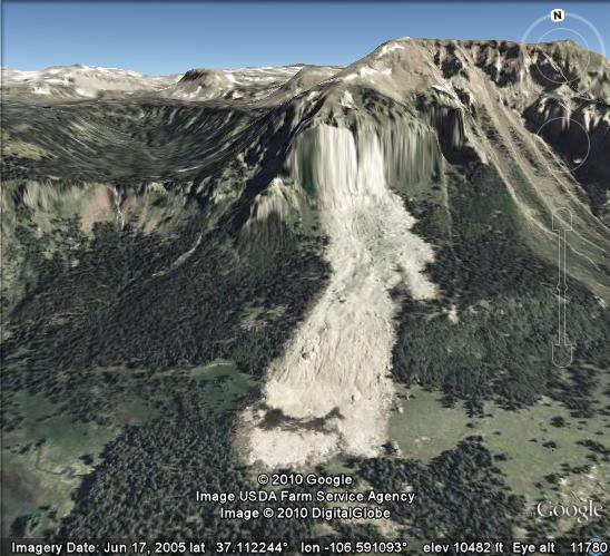 A 2005 Google Earth view after the Rio Chama rockfall
