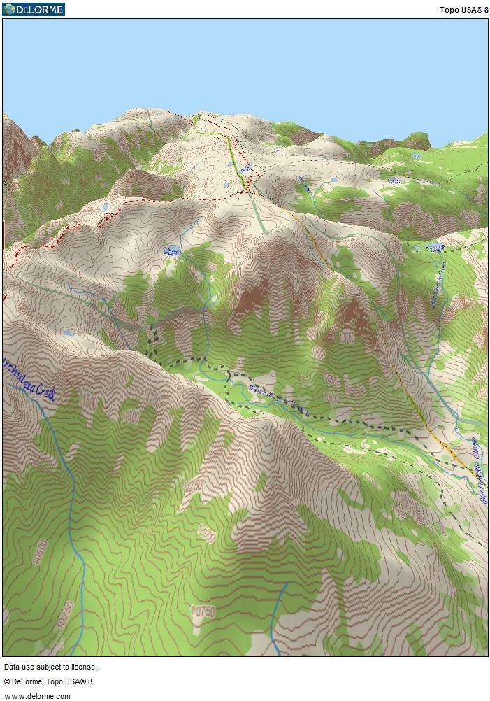 A computer generated 3D view of the rockfall area