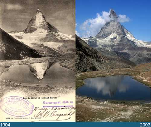 """Then and now"" pictures of the famous Matterhorn."