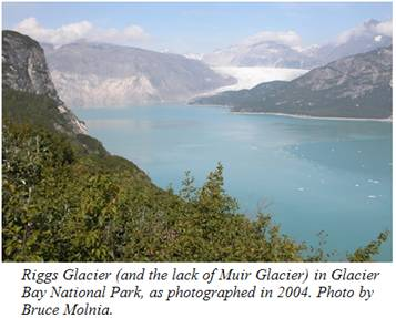 A 2004 view of the former         location of Muir Glacier.