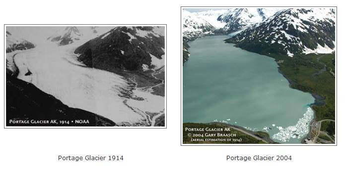 Portage Glacier Then Now