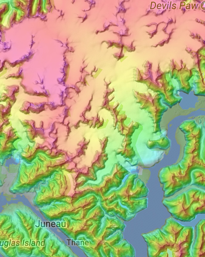 A color coded map of the Juneau Icefield