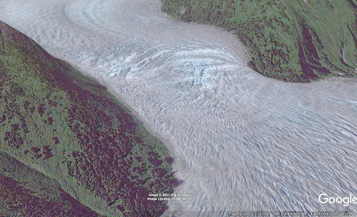 A Google Earth approximation of what the same area looked           like in July 2010
