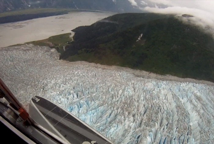 A 2017 aerial view of the trimline on the southest side           of the Hole-in-the-Wall Glacier