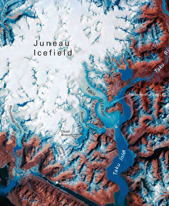 A Landsat satellite view of the Juneau Icefield