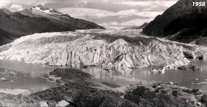 A 1958 view of the Mendenhall Glacier