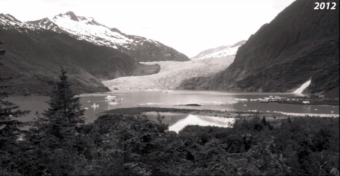 A 2012 view of the Mendenhall Glacier from the same           location.
