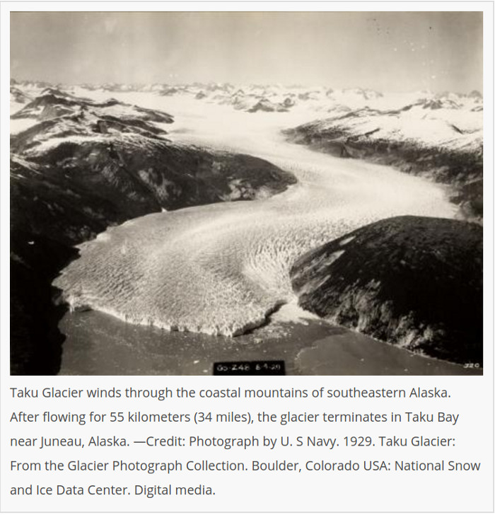 A 1929 aerial view of the Taku Glacier