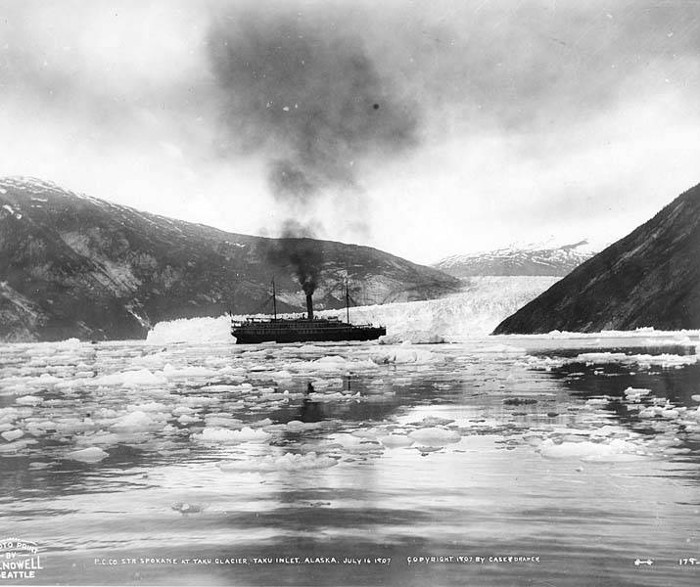 The steamship Spokane in front of the Taku Glacier in           1907