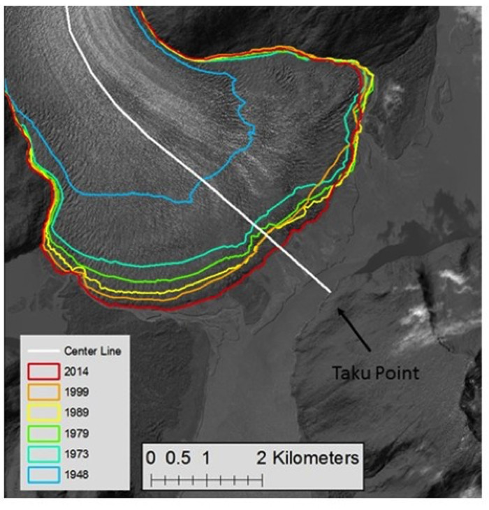 The recent record of the position of the terminus of the           Taku Glacier