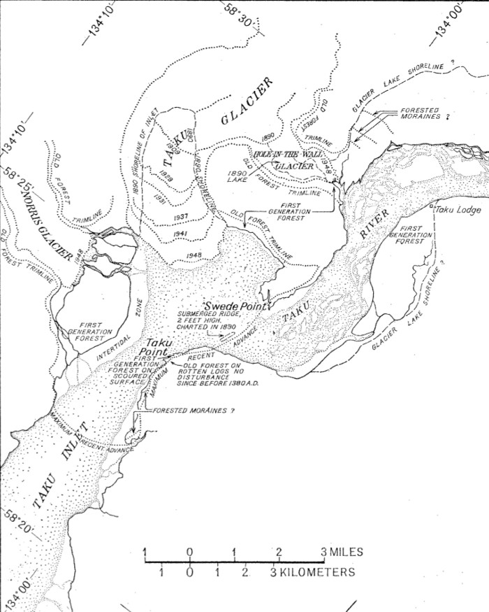 A diagram showing history of the Taku Glacier that                 was published in the American Geographical Society's                 Geographical Review