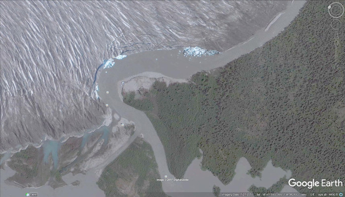 A 2010 Google Earth view of the Taku Glacier next to its           calving zone on the Norris River.