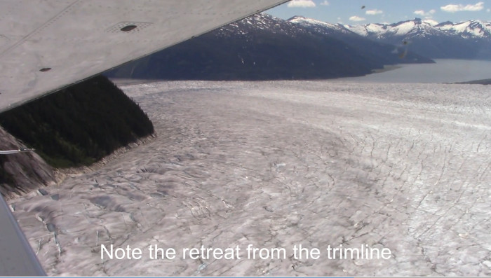 A trimline above the current surface of the Taku Glacier
